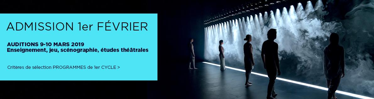Admission 1er févier. Auditions 9-10 mars 2019. Ensignement, jeu, scénographie, études théâtrales